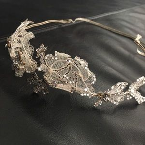 Lacey and rhinestone headband, bridal hair piece
